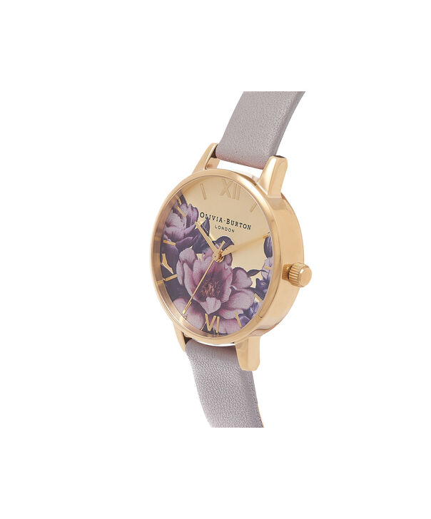 OLIVIA BURTON LONDON Peony Parlour Sunray Midi Dial Watch OB16PL48 – Midi Dial in grey and Gold - Side view