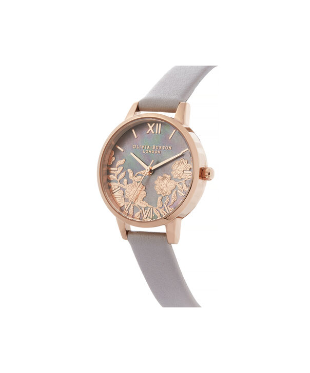 OLIVIA BURTON LONDON Lace Detail Midi Dial WatchOB16MV92 – Midi Dial in grey and Rose Gold - Side view