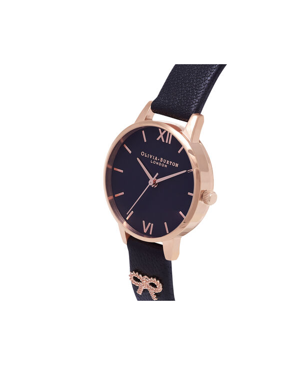 OLIVIA BURTON LONDON  Vintage Bow Black & Rose Gold Watch OB16VB07 – Midi Dial in Black and Rose Gold - Side view