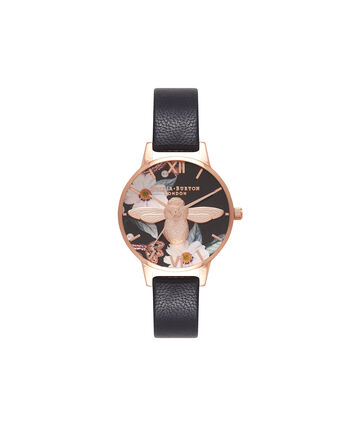 OLIVIA BURTON LONDON Bejewelled FloralsOB16BF05 – Midi Round Black and Rose Gold - Front view