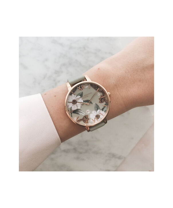 OLIVIA BURTON LONDON Bejewelled Floral Grey And Rose GoldOB16EX106 – Big Dial In Grey And Rose Gold - Other view
