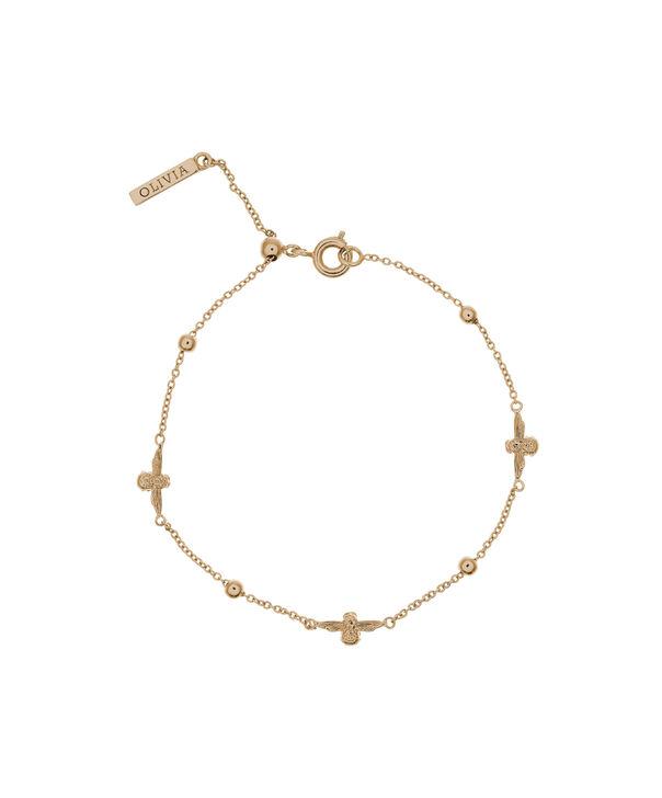 OLIVIA BURTON LONDON  3D Bee & Ball Chain Bracelet Gold OBJ16AMB18 – 3D Bee Chain Bracelet - Front view