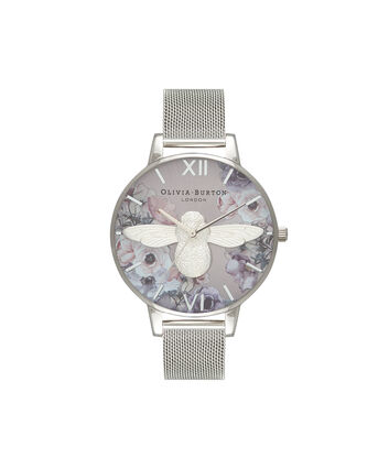 OLIVIA BURTON LONDON  Watercolour Florals Silver Mesh OB16PP42 – Big Dial Round in Silver - Front view