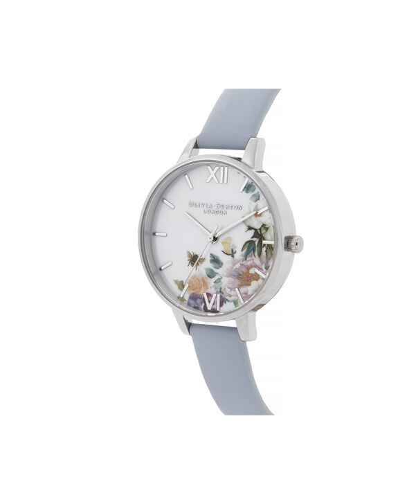 OLIVIA BURTON LONDON Enchanted Garden Demi Dial WatchOB16EG114 – Demi Dial in blue and Silver - Side view