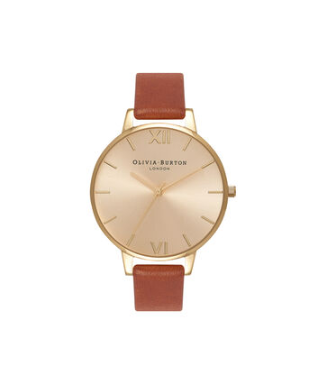 OLIVIA BURTON LONDON Sunray DialOB13BD09 – Big Dial Round in Gold and Tan - Front view