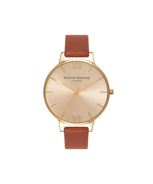 OLIVIA BURTON LONDON  Big Dial Tan And Gold Watch OB13BD09 – Big Dial Round in Gold and Tan - Front view