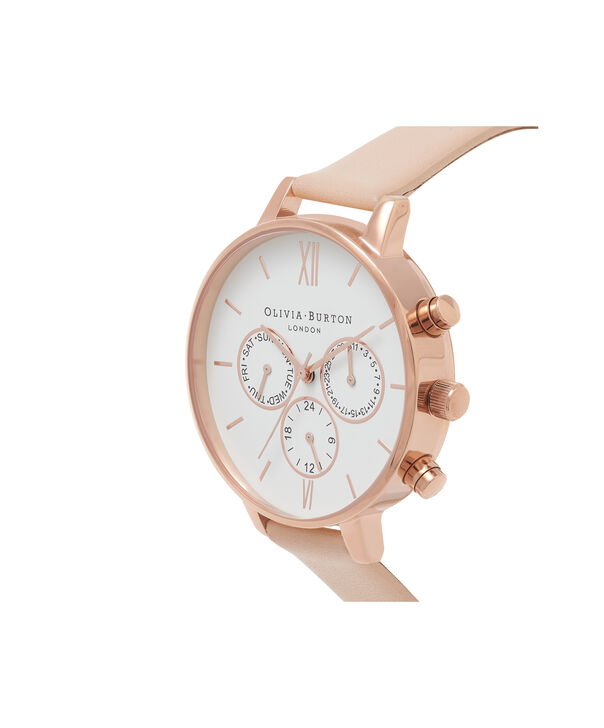 OLIVIA BURTON LONDON  Chrono Detail Nude Peach & Rose Gold Watch OB16CG88 – Big Dial Round in White and Peach - Side view