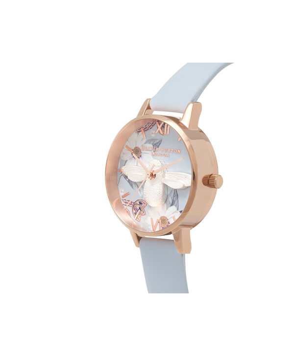 OLIVIA BURTON LONDON  Bejewelled Silver & Rose Gold Watch OB16BF07 – Midi Round Silver and Rose Gold - Side view
