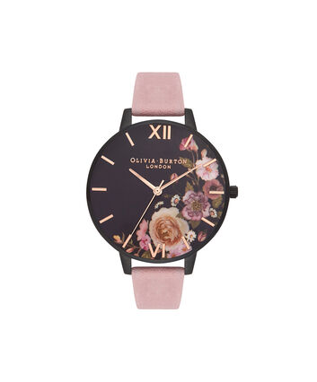 OLIVIA BURTON LONDON  After Dark Matte Black & Rose Suede Watch OB16AD26 – Big Dial Round Black - Front view