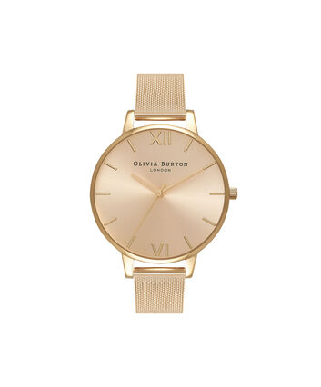 OLIVIA BURTON LONDON Big Dial Gold Sunray Mesh WatchOB16BD103 – Big Dial in Gold - Front view