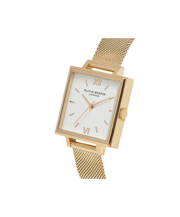OLIVIA BURTON LONDON  Big Square Dial Gold Mesh Watch OB16SS11 – Big Dial Square in White and Gold - Side view
