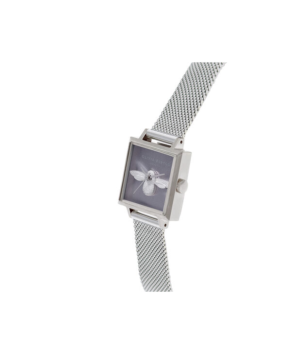 OLIVIA BURTON LONDON  Square Dial 3D Bee Stainless Steel Mesh Watch OB16AM136 – Midi Square Silver - Side view