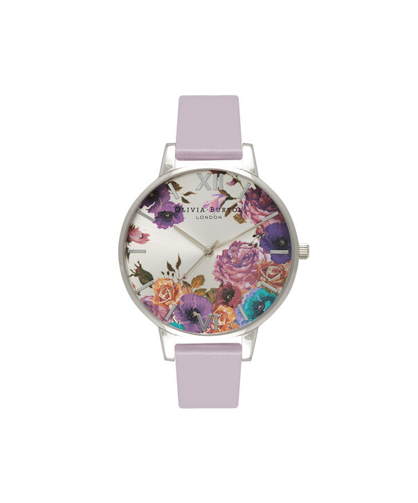 OLIVIA BURTON LONDON  Enchanted Garden Lilac & Silver Watch OB15EG05 – Big Dial Silver and Lilac - Front view