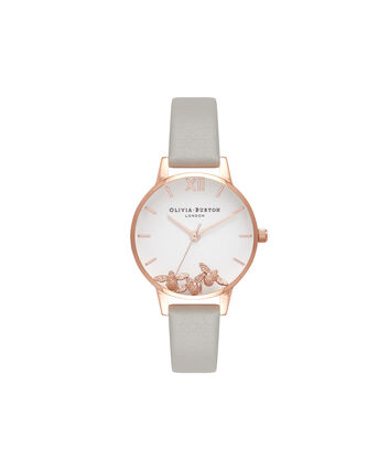 OLIVIA BURTON LONDON  Grey & Rose Gold Watch OB16CH03 – Midi Dial Round in White and Grey - Front view