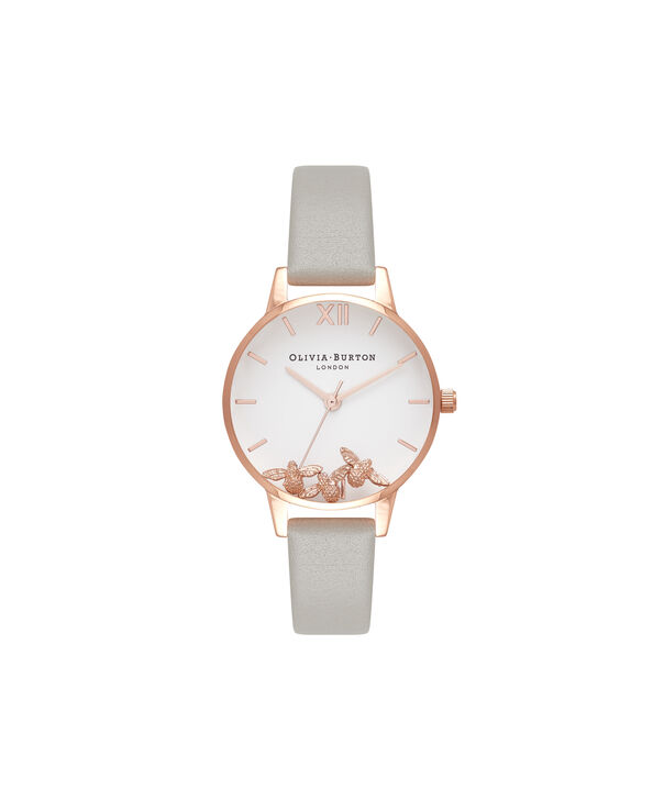 OLIVIA BURTON LONDON Busy Bees Grey & Rose Gold Watch OB16CH03 – Midi Dial Round in White and Grey - Front view