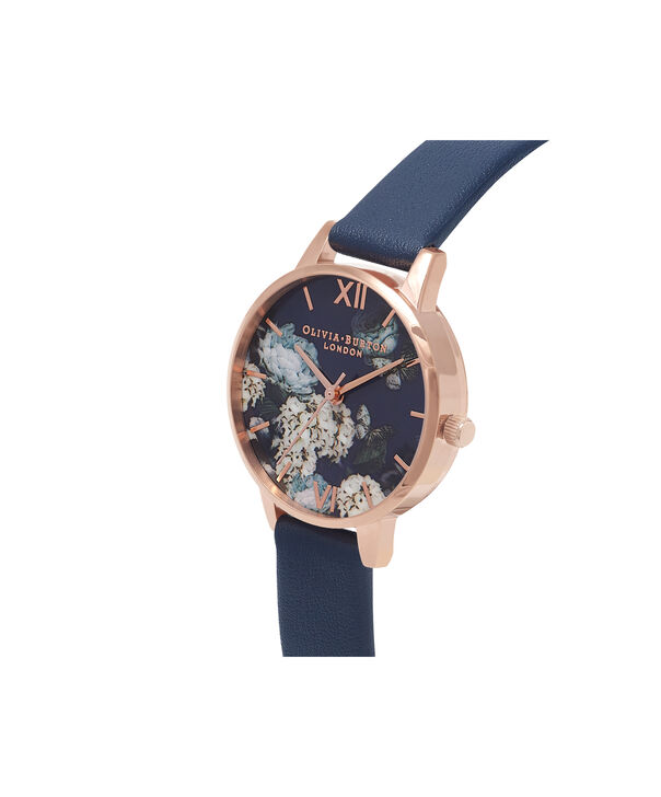 OLIVIA BURTON LONDON  Signature Floral Navy & Rose Gold Watch OB16WG13 – Midi Dial Round in Floral and Navy - Side view