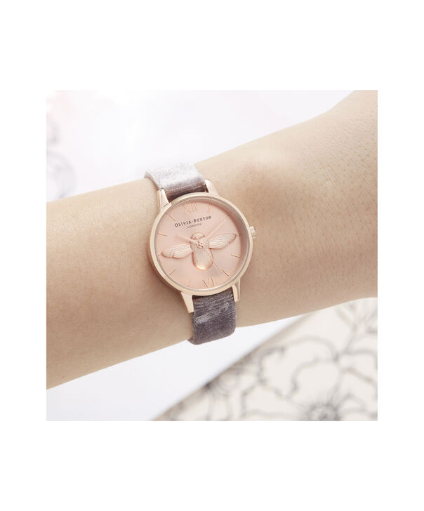OLIVIA BURTON LONDON 3D Bee Midi Dial Watch with VelvetOB16AM160 – Midi Dial in grey and Rose Gold - Other view