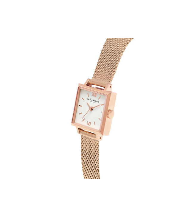 OLIVIA BURTON LONDON  Big Square Dial Rose Gold Mesh Watch OB16SS05 – Big Square in White and Rose Gold - Side view