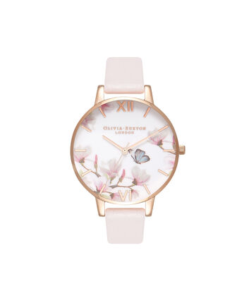 OLIVIA BURTON LONDON  Pretty Blossom Rose Gold & Blossom Watch OB16EG93 – Big Dial Round in Rose Gold and Blossom - Front view