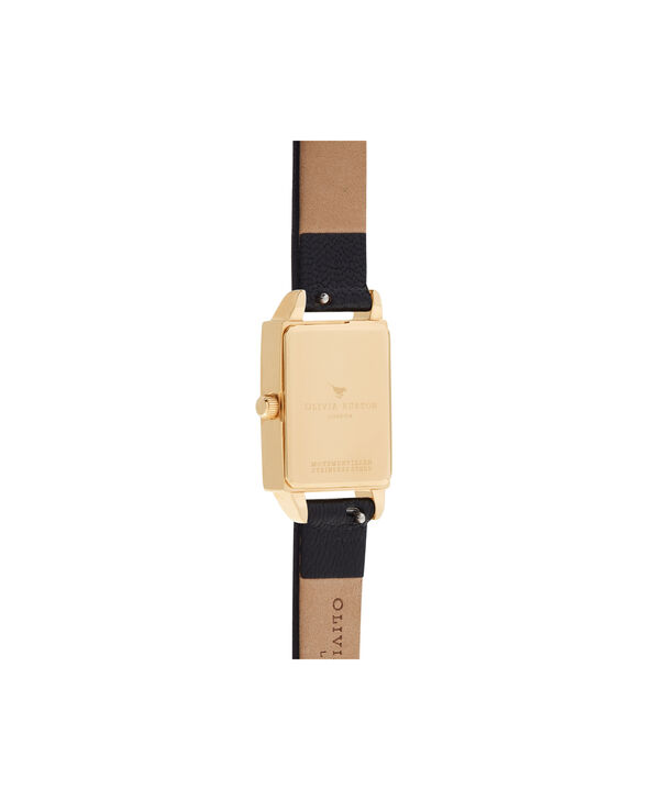 OLIVIA BURTON LONDON  Bee Hive Black Mother of Pearl, Black & Gold OB16BH02 – Midi Dial Rectangle in Gold and Black - Back view