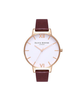 OLIVIA BURTON LONDON  White Dial Burgundy & Rose Gold Watch OB16BDW33 – Big Dial in Rose Gold, White and Burgundy - Front view