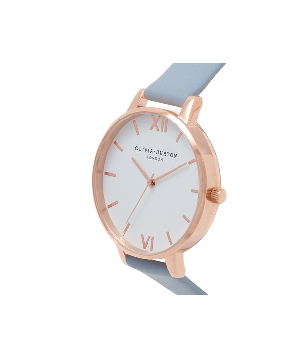 OLIVIA BURTON LONDON  Big Dial Blue & Rose Gold Watch OB16BDW18 – Big Dial Round in White and Chalk Blue - Side view