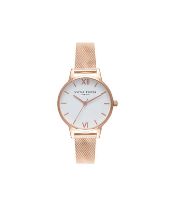 OLIVIA BURTON LONDON  White Dial Rose Gold Mesh Watch OB16MDW01 – Midi Dial in White and Rose Gold - Front view