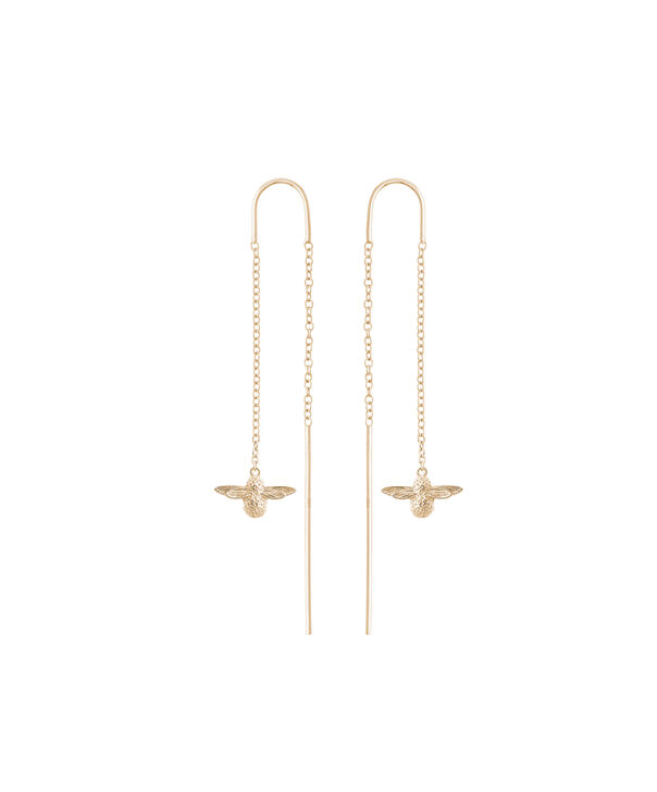 OLIVIA BURTON LONDON  3D Bee Threader Earrings Gold OBJ16AME12 – 3D Bee Chain Earrings - Front view