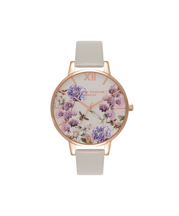 OLIVIA BURTON LONDON Enchanted GardenOB16PL30 – Big Dial Round in Parlour and Grey - Front view