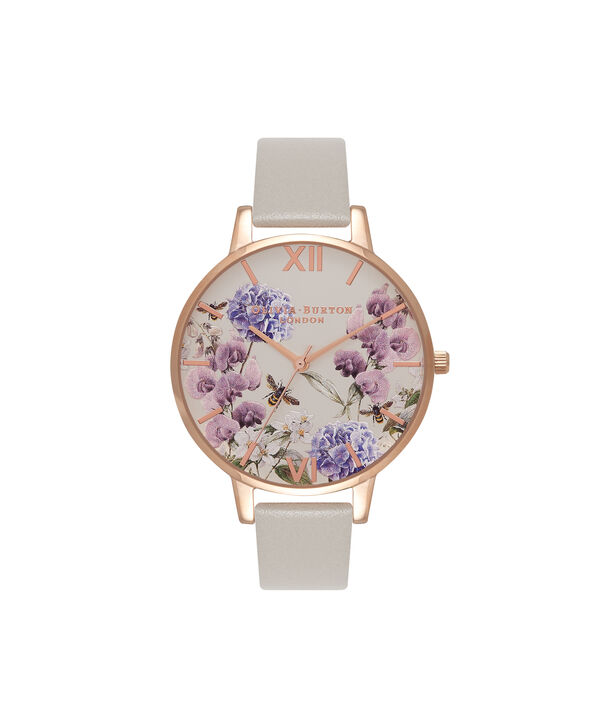 OLIVIA BURTON LONDON  Parlour Bee Blooms, Grey & Rose Gold Watch OB16PL30 – Big Dial Round in Parlour and Grey - Front view