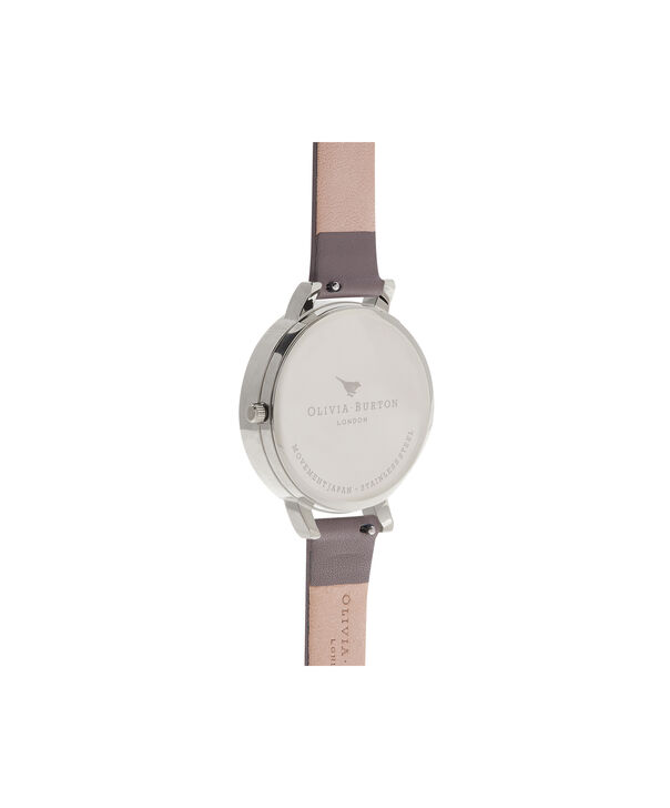 OLIVIA BURTON LONDON  Embroidered Dial 3D Bee London Grey and Silver Watch OB16EM05 – Midi Dial Round in Floral and London Grey - Back view