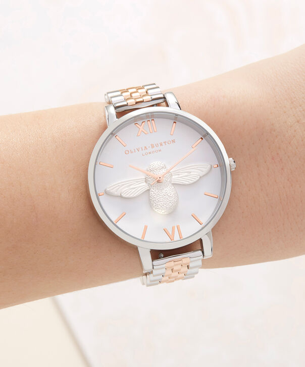 OLIVIA BURTON LONDON  3D Bee Bracelet Silver & Rose Gold OB16AM156 – Big Dial Round in Silver , Rose Gold and Silver - Other view