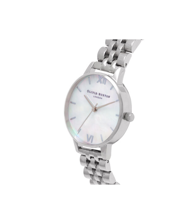 OLIVIA BURTON LONDON  Mother of Pearl White Bracelet, Silver OB16MOP02 – Midi Dial Round in Silver and Silver - Side view