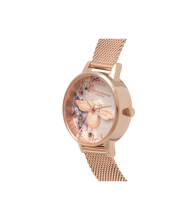 OLIVIA BURTON LONDON  Watercolour Florals Rose Gold Mesh OB16PP40 – Midi Dial Round in Rose Gold - Side view
