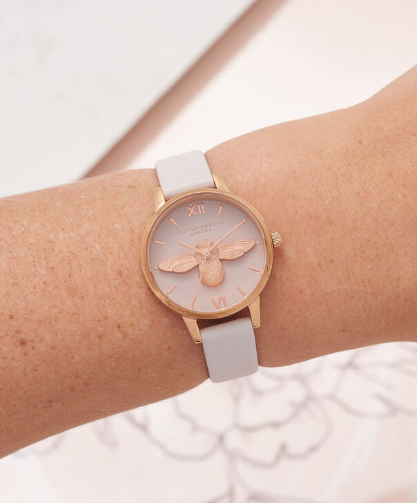 OLIVIA BURTON LONDON  3D Bee Blush Dial Blush & Rose Gold Watch OB16AM85 – Midi Dial Round in Blush - Other view