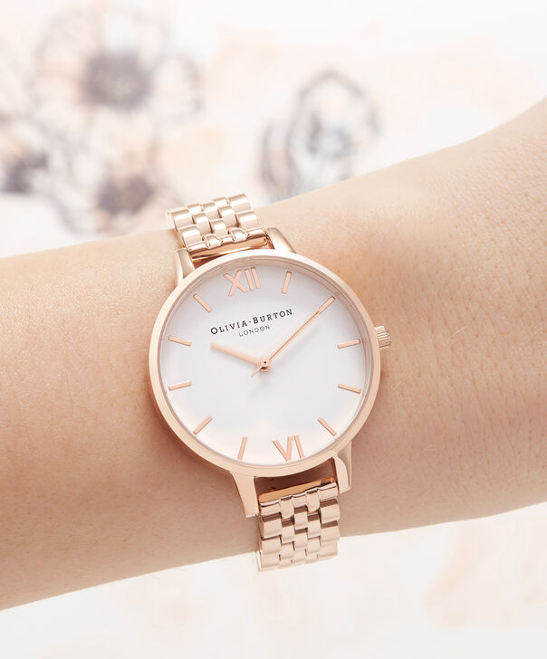 OLIVIA BURTON LONDON White Dial Demi Dial WatchOB16DEW01 – Demi Dial in rose gold and Rose Gold - Other view