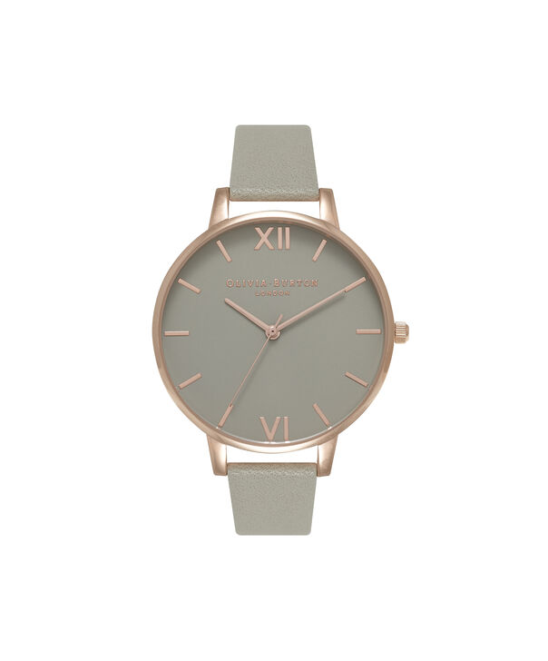 OLIVIA BURTON LONDON  Big Dial Grey And Rose Gold Watch OB15BD61 – Big Dial Round in Grey - Front view