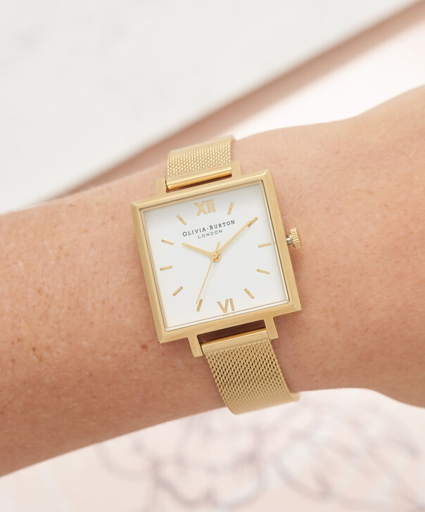 OLIVIA BURTON LONDON  Big Square Dial Gold Mesh Watch OB16SS11 – Big Dial Square in White and Gold - Other view