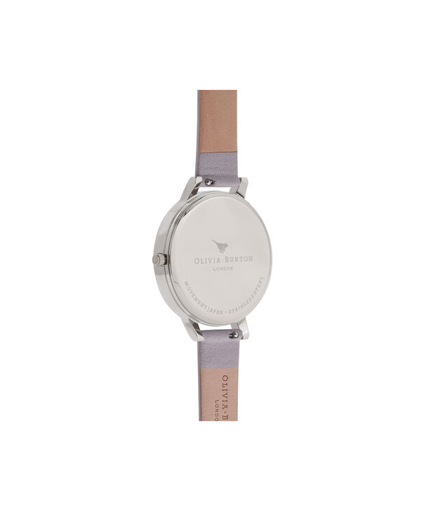 OLIVIA BURTON LONDON  Marble Floral Grey Lilac, Rose Gold & Silver Watch OB16MF05 – Big Dial in Rose Gold and Grey Lilac - Back view