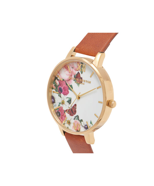 OLIVIA BURTON LONDON  English Garden Tan & Gold Watch OB16ER07 – Big Dial in White Floral and Tan - Side view