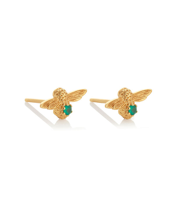 OLIVIA BURTON LONDON Celebration Bee Studs Gold & Green AgateOBJAME99 – Celebration Bee Studs Gold & Green Agate - Side view