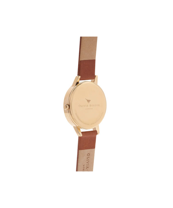 OLIVIA BURTON LONDON  Midi Dial Tan And Gold Watch OB14MD22 – Midi Dial Round in Gold and Tan - Back view