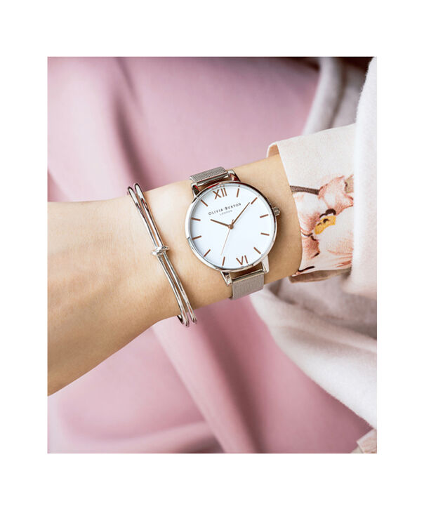 OLIVIA BURTON LONDON  Big Dial Rose Gold Mesh Watch OB15BD79 – Big Dial Round in White and Rose Gold - Other view