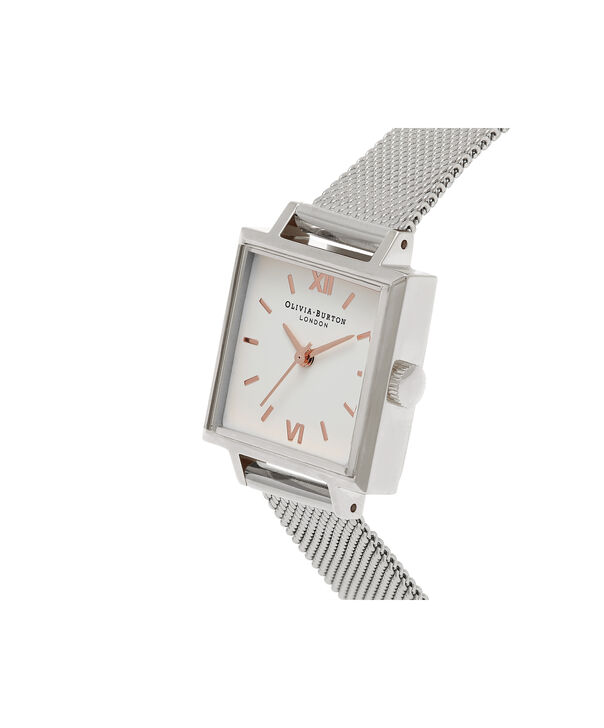 OLIVIA BURTON LONDON  Midi Square Dial Silver Mesh Watch OB16SS06 – Big Dial Square in White and Silver - Side view