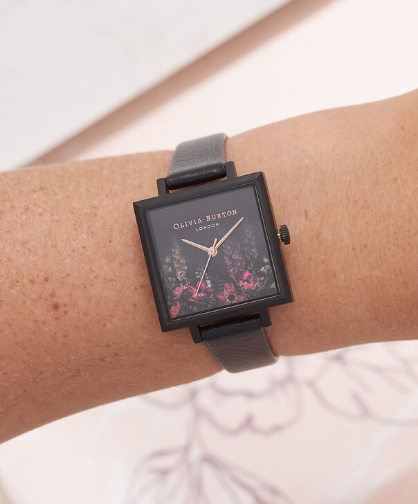 OLIVIA BURTON LONDON  After Dark Floral Big Square Dial Matte Black & Rose Gold Watch OB16AD17 – Big Dial Square in Floral and Black - Other view
