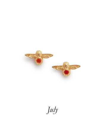 OLIVIA BURTON LONDON Celebration Bee Studs Gold & Red AgateOBJAME101 – Celebration Bee Studs Gold & Red Agate - Front view
