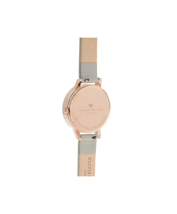OLIVIA BURTON LONDON Busy Bees Grey & Rose Gold Watch OB16CH03 – Midi Dial Round in White and Grey - Back view