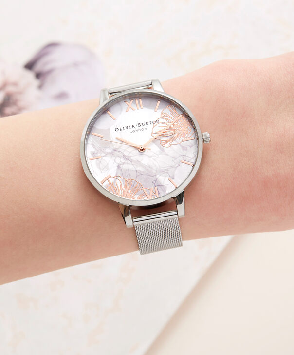 OLIVIA BURTON LONDON Abstract Florals Silver Mesh Watch  OB16VM20 – Midi Round Silver and Rose Gold - Other view