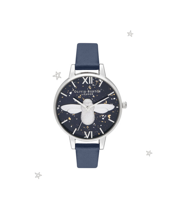 OLIVIA BURTON LONDON 3D Bee, Midnight, Navy & SilverOB16GD04 – Demi Dial in Navy and Silver - Front view