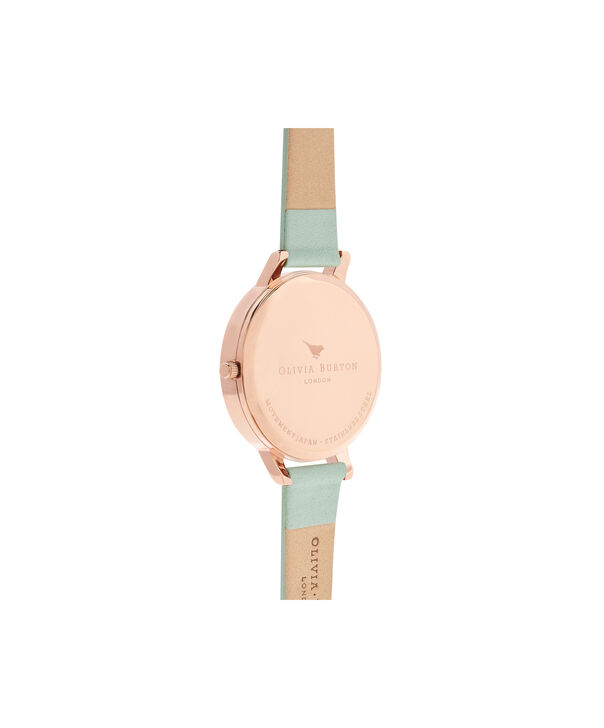 OLIVIA BURTON LONDON  Big Dial Mint & Rose Gold Watch OB16BDW27 – Big Dial Round in White and Mint - Back view